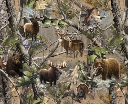 Realtree Allover Hidden Animals Fleece Fabric - Sold By the Yard