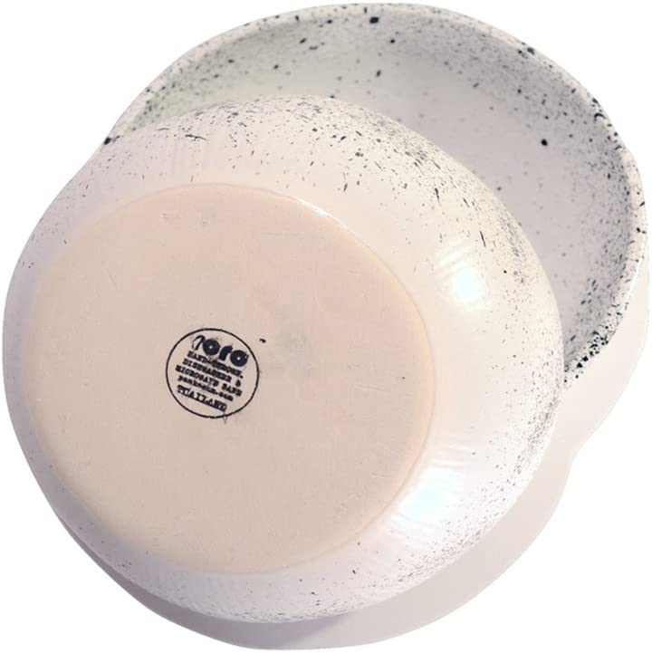 RoRo Ceramic Stoneware Hand-Crafted Bowl Set with Black Speckled Egg Pattern 7 Inch Set of 2