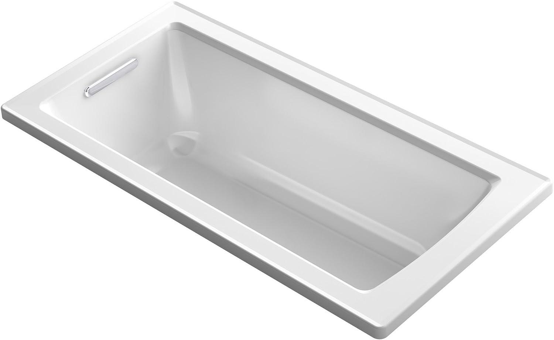 "KOHLER K-1946-0 Drop-In Bath with Reversible Drain, 60"" x 30"", White"