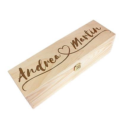 AMAVEL – Caja de Vino de Madera – Personalizada con Dos Nombres y un Corazón Novia