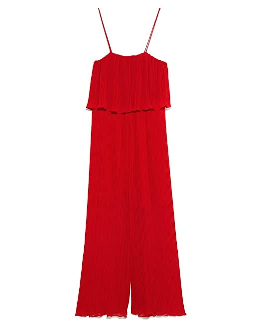 322a9800 Zara Women's Pleated Jumpsuit with Straps 4786/060: Amazon.co.uk ...
