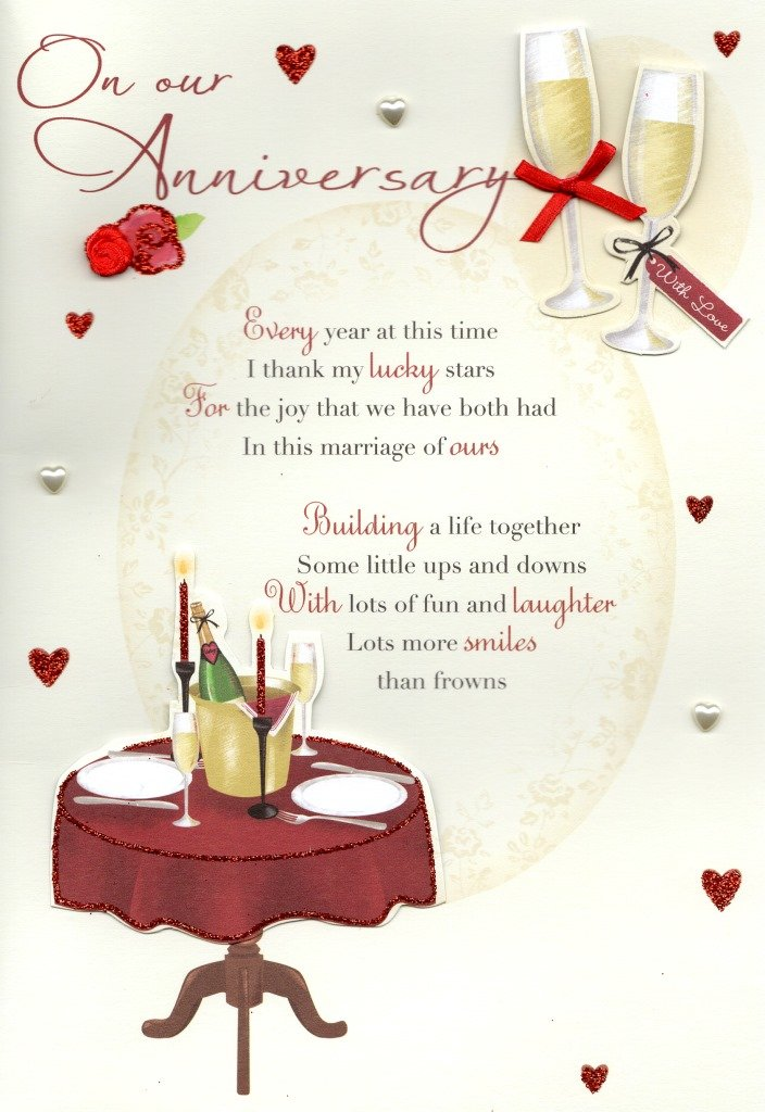 On Our Anniversary Greeting Card Lovely Verse Embellished Greetings Cards