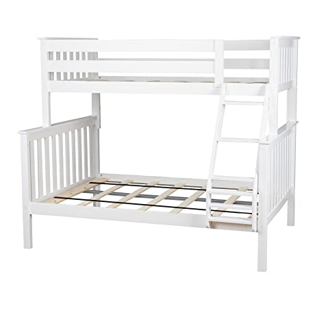 max u0026 lily solid wood twin over full bunk bed white