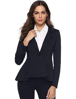 Aibrou Mujer Clásica Informal Blazer Ligero Frente Abierto Drapeado Traje  de Chaqueta fa3d6747f5df