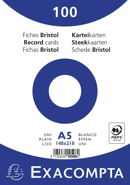 Exacompta 10508E Cartoncini Bristol 14x21 cm Bianco