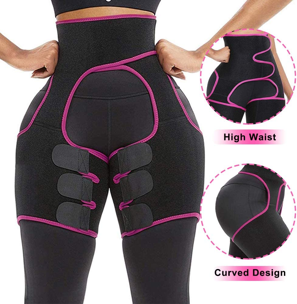 3 in 1 Thigh and Waist Trainer Plus Size Everyday Wear Fitness Exercise Butt Lifer Thigh Trimmer NAILGIL Waist and Thigh Trainer for Women Weight Loss with Adjustable High Waist Design