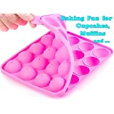 Muffins Baking Cupcakes Cookware Mold- BPA Free, Food Grade, Stain/Odor Resistant, by BA-PRO Best for Brownies, Pies, Lollipops, Candies, Jelly and Chocolate,20 Balls Silicone Tray, Not Sticky, Pink