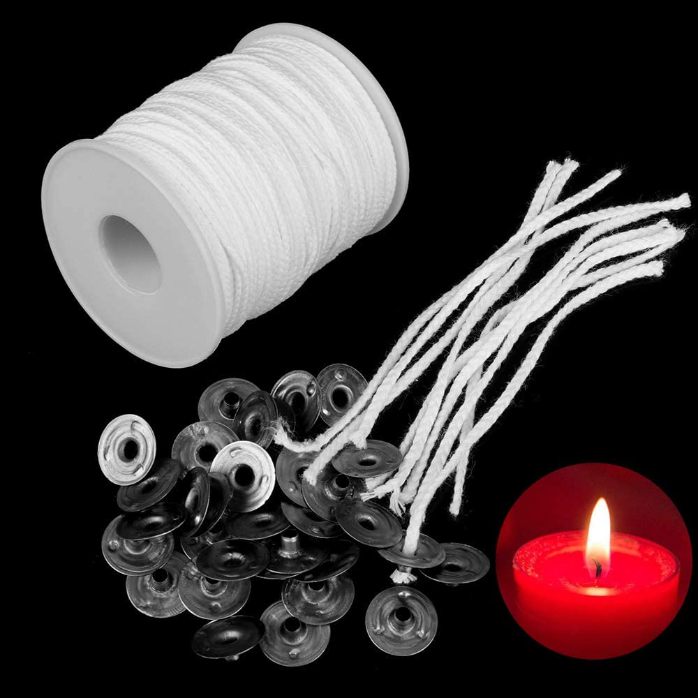 100pcs Pre Tabbed Candle Wick 8 Inch Cotton Core Candle Making Supplies diy