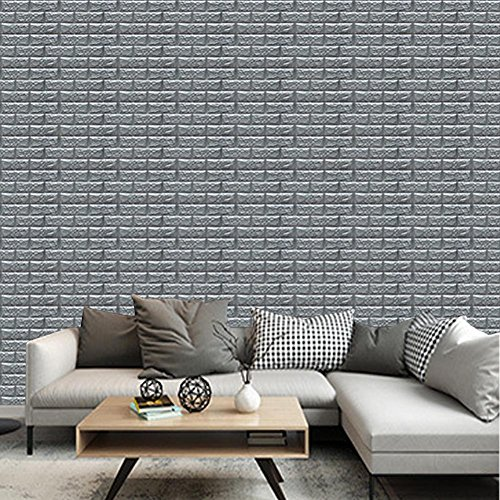 3D Wall Murals Wallpaper Bathroom Vinyl Adhesive Foam Brick Tile Silver Grey 8Pack (Paper Torn Wallpaper)