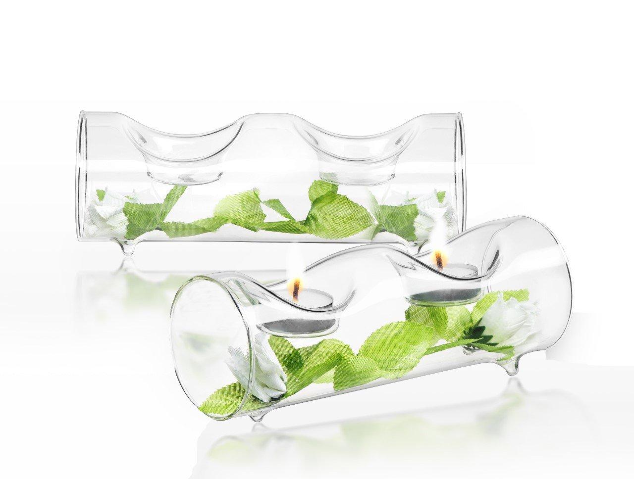 JoyJolt Set of 2 Double Clear Glass TeaLight Candle Holders Centerpiece TeaLight Holder JG10208
