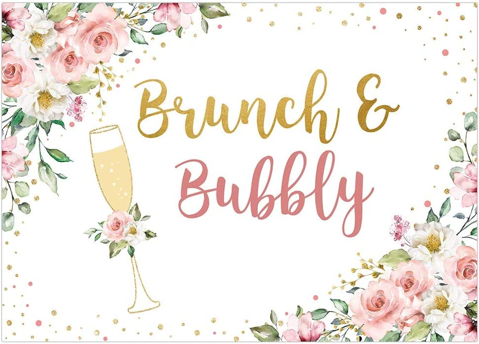 Funnytree Soft Fabric 8x8FT Brunch and Bubbly Bridal Shower Party Backdrop Pink Floral Gold Champagne Background Wedding Bachelorette Flower Decoration Banner Supplies Photo Booth Prop Pictures