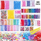 Slime Supplies Kit, 60 Pack Slime Beads Charms Include Floam Beads, Fishbowl Beads, Glitter Jars, Fruit Slices, Rainbow Pearl, Colorful Sugar Paper Accessories, Slime Tools for Slime Making DIY Craft