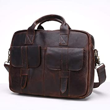 Color : Yellow Brown, Size : S Cozy Genuine Leather Bags Men Briefcase Laptop Wallet Leather for 14 Inch Laptop Sturdy
