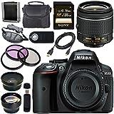 Nikon D5300 DSLR Camera with AF-P 18-55mm VR Lens (Black) Sony 128GB SDXC Card Carrying Case Bundle (12 Items)