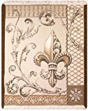 Manual Wheat Fleur de Lis Rayon 48 X 60-Inch Throw