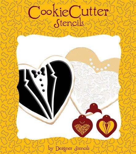 Bride Groom Cookies - Bride & Groom Cookie Stencil Set (no cutter) by Designer Stencils