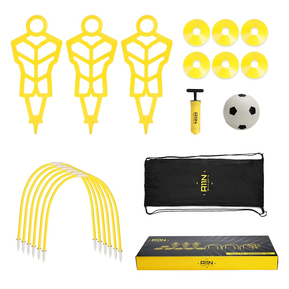 A11N Soccer Training Set-Includes 3 Training Mannequins, 6 Passing Arcs, 6 Disc Cones, 1 Mini Soccer Ball and Pump, 1 Drawstring Bag  Great for Kids Ages 5-7