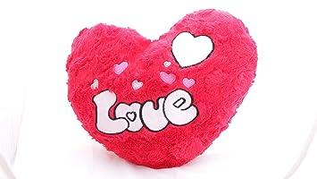 Lilone Pink Heart Stuffed Soft Plush Fur Pillow | Love Birthday Anniversary Girlfriend Gift | Size 25cm