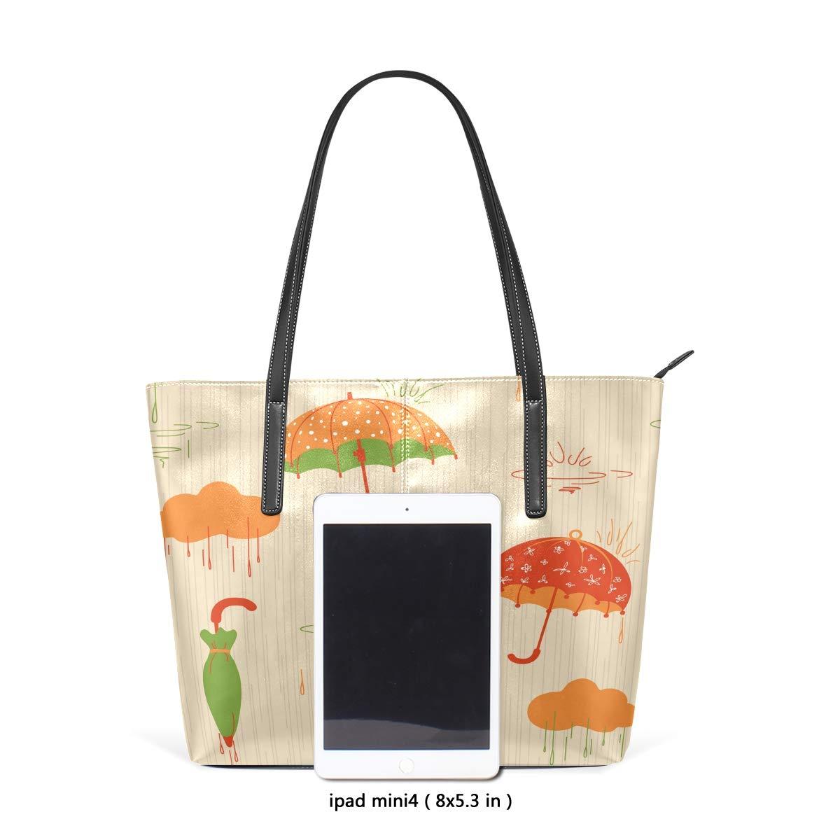 Three Umbrellas Illustration Womens PU Leather Tote Shoulder Bags Handbags Casual Bag