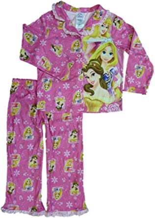 Disney Girls Pink Princess Flannel Pajamas PJS Pajama 2 Piece Sleep Set Size 4