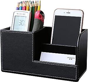 KINGFOM PU Leather Desk Organizer Pen Pencil Holder Business Name Cards Remote Control Holder Black