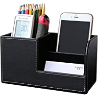 KINGFOM Wooden Struction Leather Multi-Function Desk Stationery Organizer Storage Box Pen/Pencil ,Cell Phone, Business Name Cards Remote Control Holder S-Black