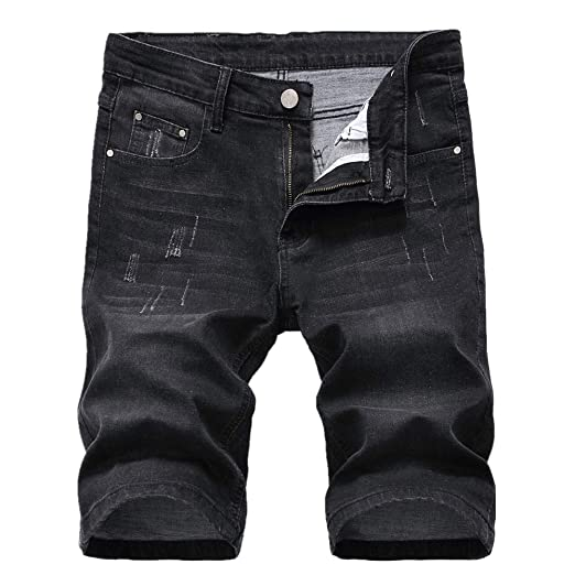 mens denim shorts black