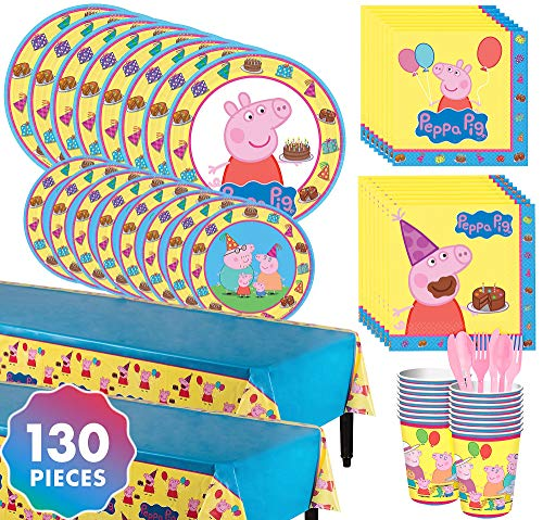 Party City Peppa Pig Complete Tableware Kit for 16 Guests, 130 Pieces, Includes Plates, Napkins, Cups, and Table -