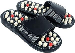 Exceart Acupressure Foot Massager Acupoint Massage Ball Roller Slippers Shoes Reflexology Sandals for Men Women (Size 43)