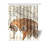 CTIGERS Animal Theme Shower Curtain for Kids Tiger Mom and Baby Polyester Fabric Bathroom Decor 60 x 72 Inch