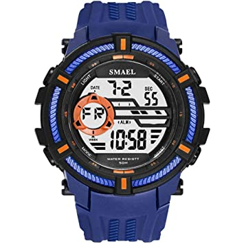 WULIFANG Sports Watch Military Watch Mens Gran Dial S Shock Impermeable Reloj Digital Led Casual Darkblue