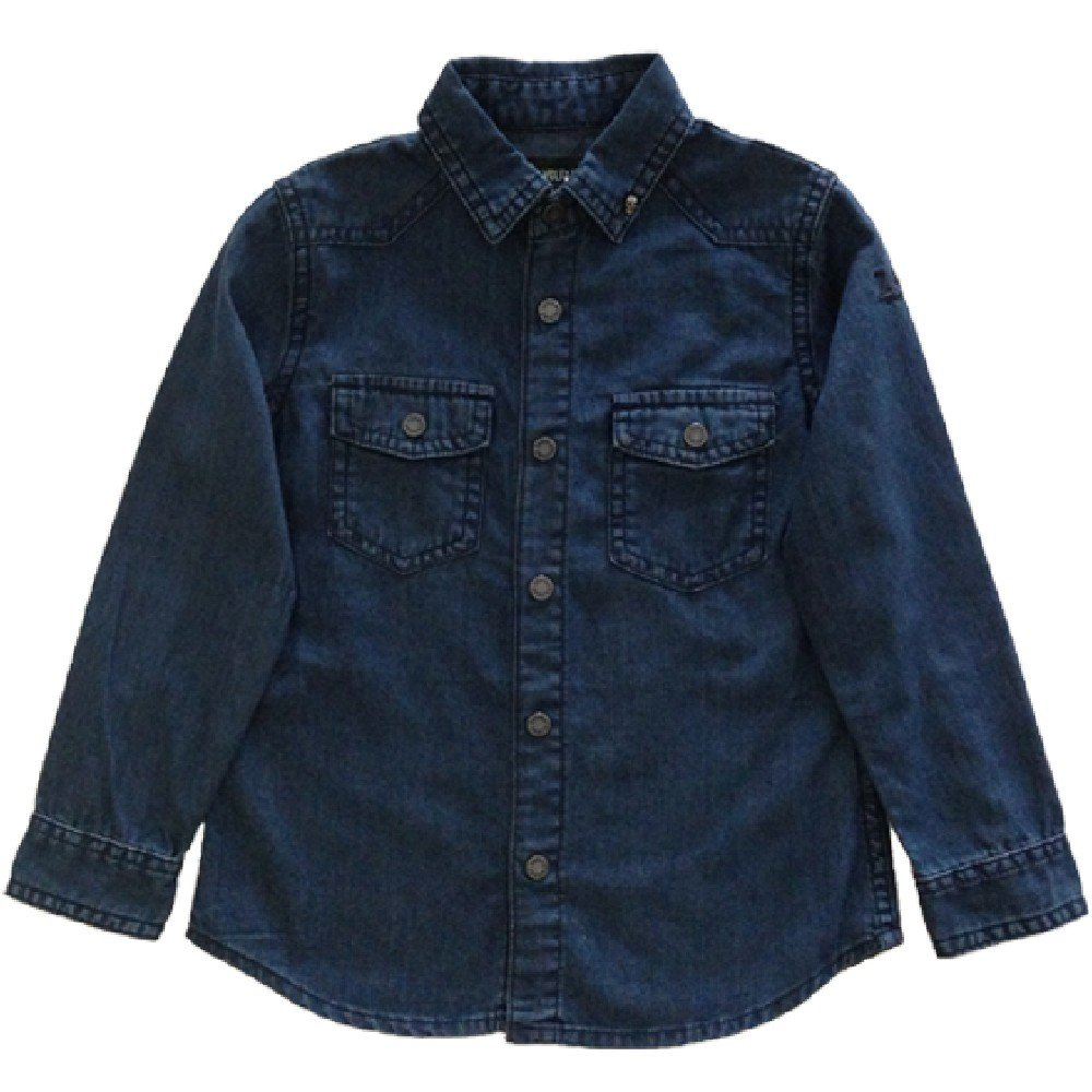 Zadig Et Voltaire Boys Chambray Shirt with Guitar Graphic on Back (8)
