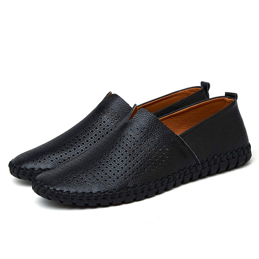 CHENDX Shoes Mens Fashion Light Soft Leather Drive Loafers Casual Hollow Breathable A Foot Pedal Boat Moccasins Color : Hollow Black, Size : 12 M US