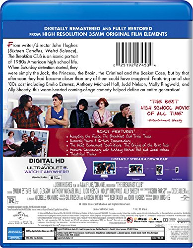 Amazon Com The Breakfast Club 30th Anniversary Edition Blu Ray Digital Hd Molly Ringwald Emilio Estevez Anthony Michael Hall Judd Nelson