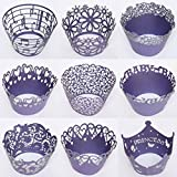 SophieBella 60 pcs 5 packs mixed Purple Lace-Cupcake-Wrapper for Holiday