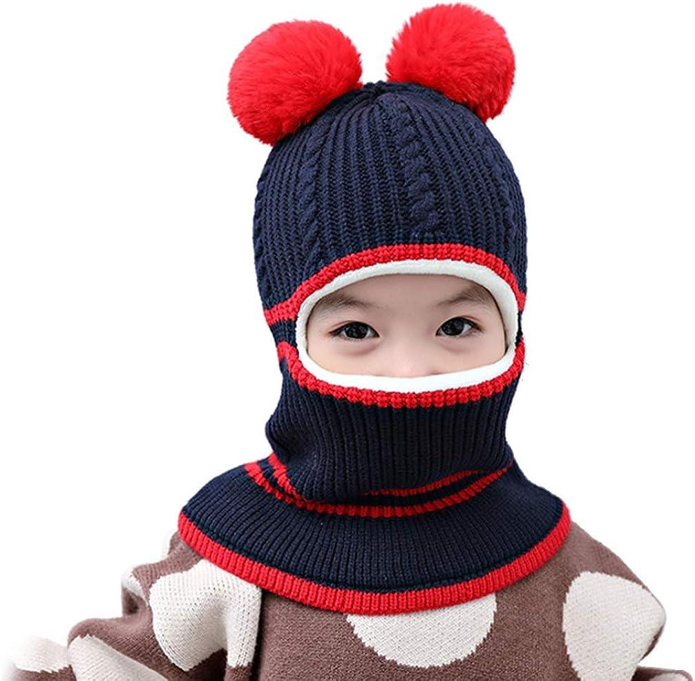 FENICAL Gorro de Bufanda de Punto para Niños Lindo Bebé Cálido Invierno Gorro de Lana Gorro de Ganchillo (Rojo)