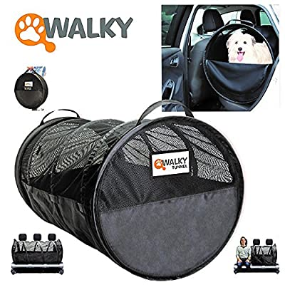 "Walky Pet Tube, Car Kennel Crate, Automotive Pet Containment Barrier Kennel, Soft Pet Crate, Large, 47"" L x 24' Round by Walky Dog"