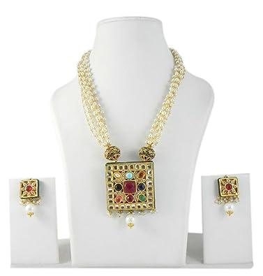 Buy designer indian gold tone navratan kundan polki pendant necklace designer indian gold tone navratan kundan polki pendant necklace earring aloadofball Choice Image