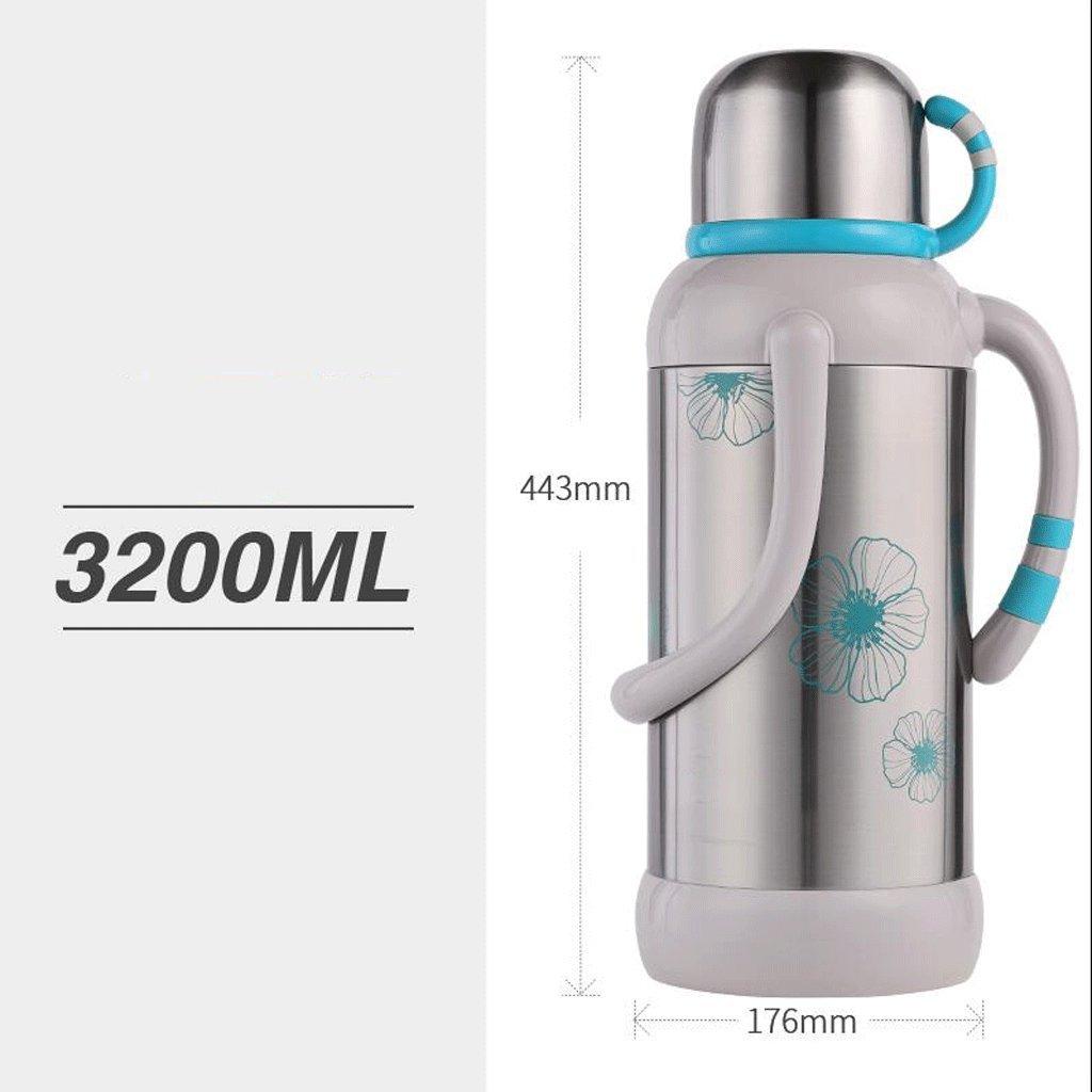 Home 304 Edelstahl Warmwasser Flasche Wärmekonservierung Hohe Kapazität Isolierung Töpfe Küche Restaurant Schlafzimmer Warm Topf Wasserkocher Glas Liner 3,2L UOMUN (Farbe : Blau)