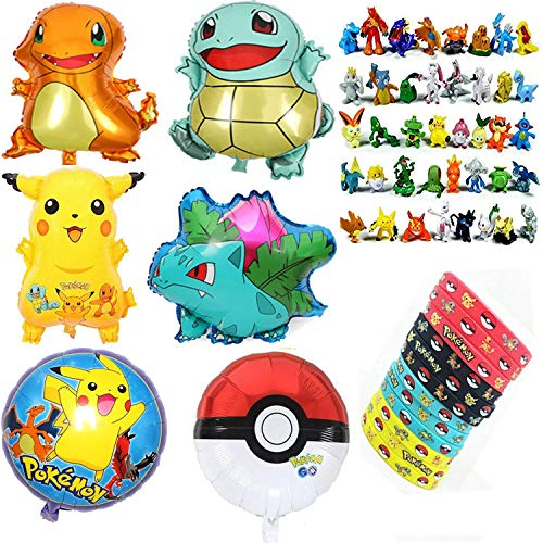 Price comparison product image Jinhuamike Pokemon Theme Party Decorations Supplies Bundle Favors Pack-24 Action Figures,12 Bracelets and 6 Party Balloons for Kids & Adult Party Celebration