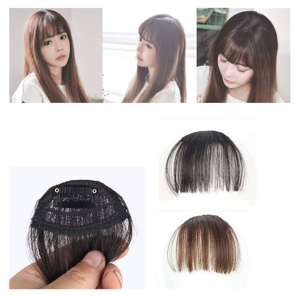 ❤️ Sunbona Wigs with Bangs for Women Pretty Girls Clip On Clip in Front Hair Bang Fringe Hair Extension Piece Thin Natural (D)
