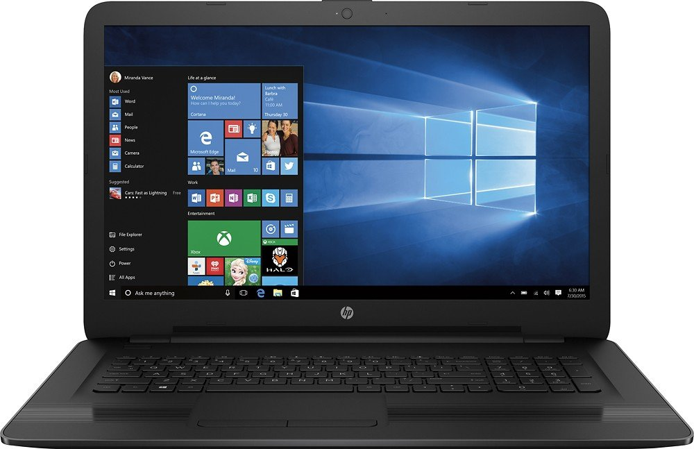 "2017 New HP Premium High Performance 17.3"" HD+ Display Laptop, Latest Intel Core i7-7500U Processor (4M, up to 3.5GHz), 8GB DDR4 RAM, 1TB HDD, DVD-RW, Wi-Fi, USB 3.1, HDMI, Webcam, Windows 10"