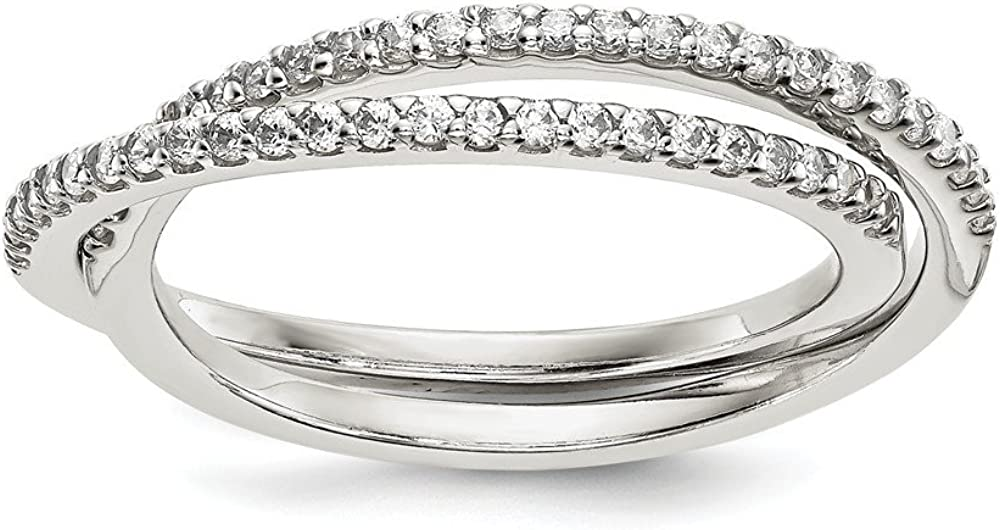 Sterling Silver Fashion Ring Open Back Flat Solid Polished 3 mm CZ Intertwined Rings