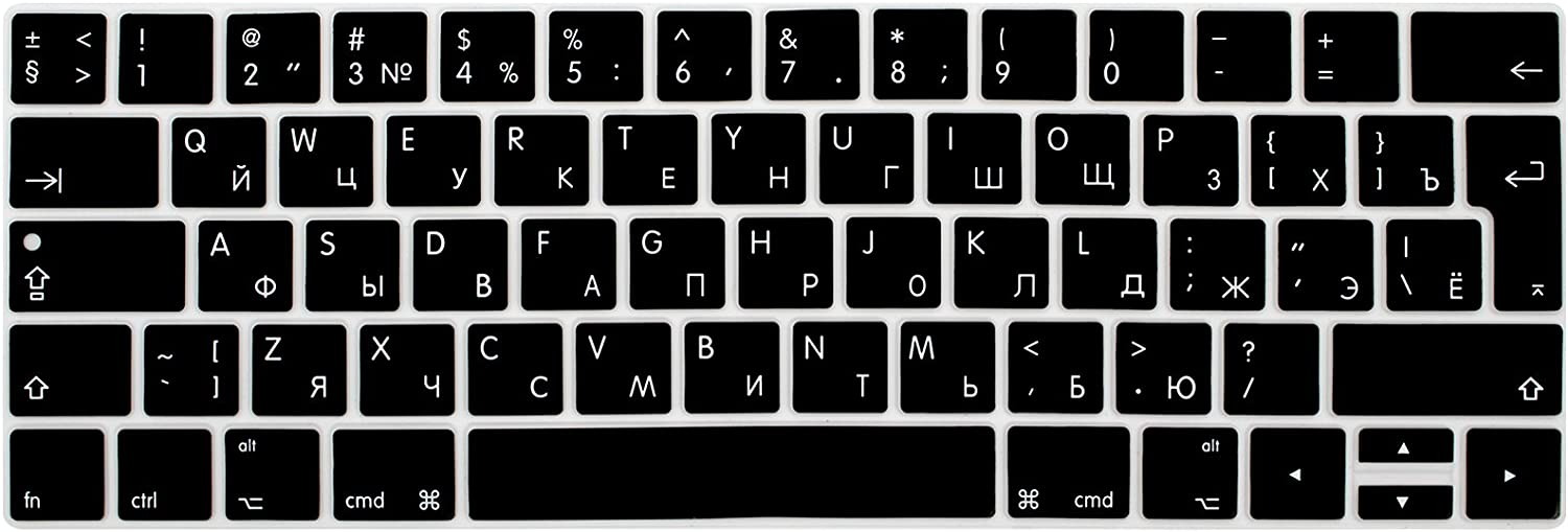 WYGCH Russian Language Waterproof Ultrathin Keyboard Cover Compatible MacBook Pro 13 15 inch 2019 2018 2017&2016 with Touch Bar&Touch ID Model:A2159 A1989 A1706/A1990 A1707,European Version