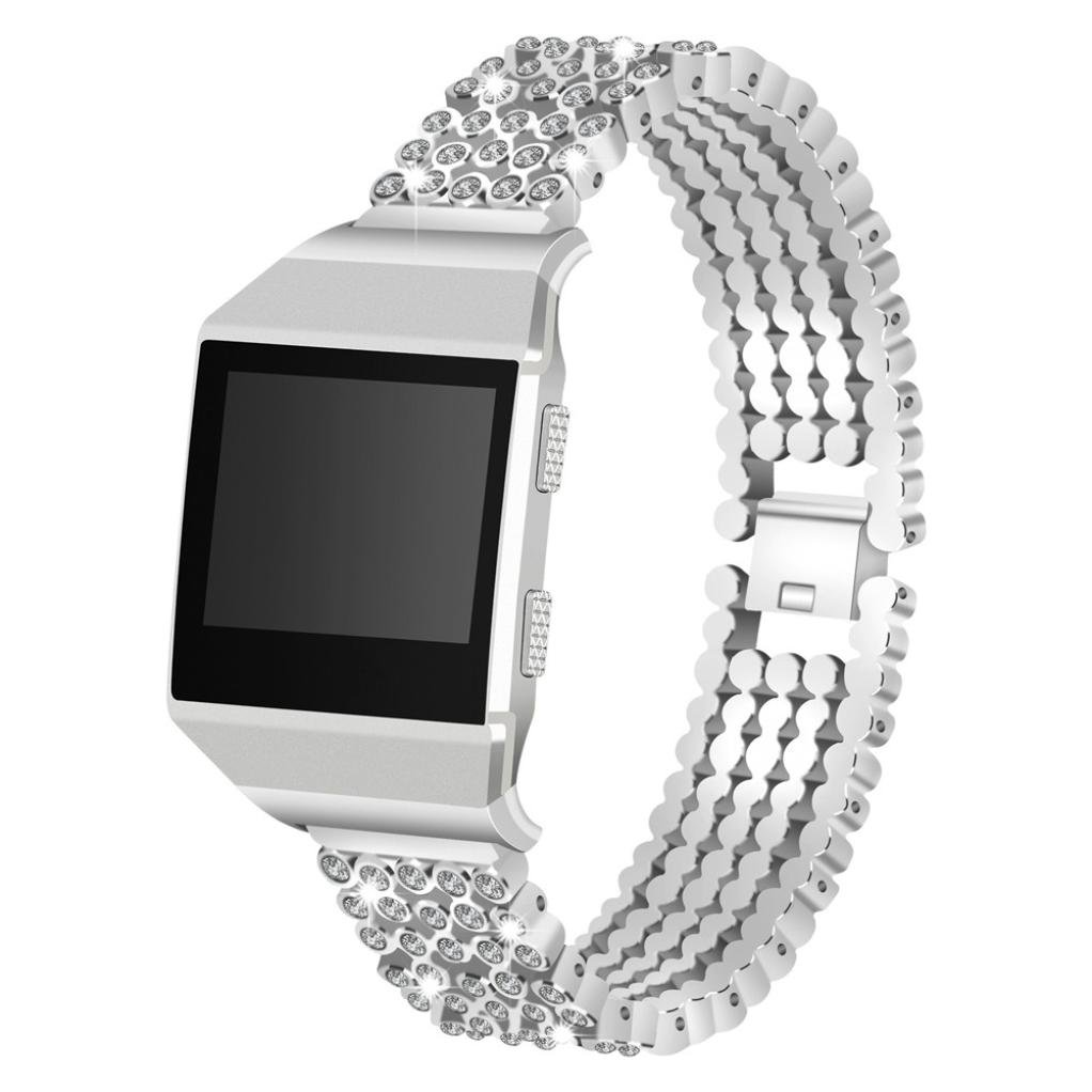 For Fitbit Ionic Accessory Watch Replacement Band with Bling Bling Adjustable Bracelet (Silver)
