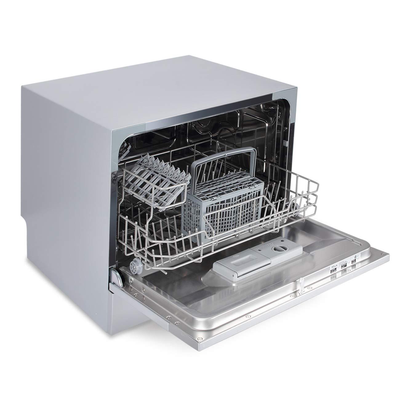 Silver DELLA Compact Mini Dishwasher with 6 Wash Cycles Small Setting Capacity Plate for Office RV Condo Apartment Kitchen