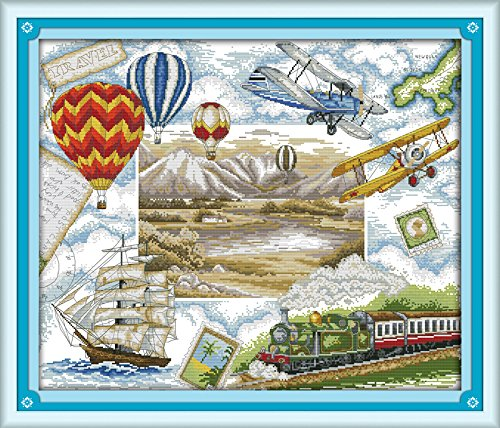 Happy Forever Cross Stitch Scenery,travel round the world