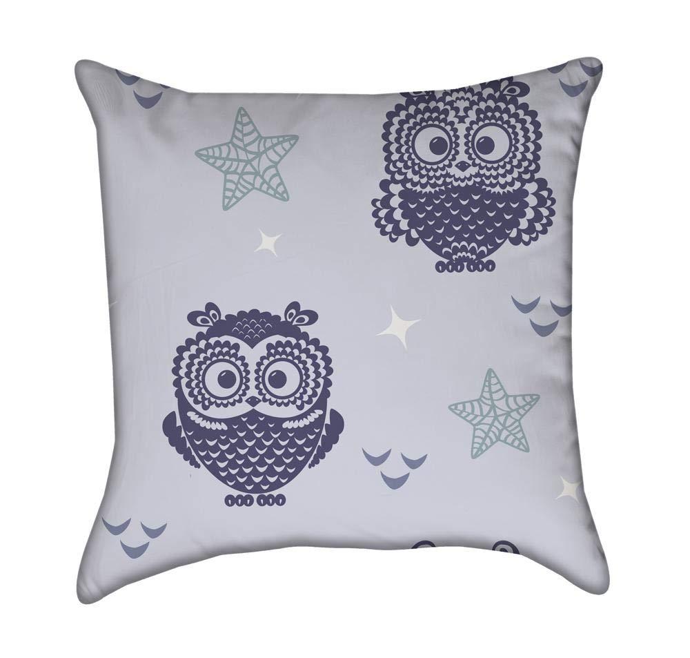 ブルーOwls with Little Stars Throw枕 18 x 18-Inch ブルー P-017 18 x 18-Inch  B01HTVQSXA