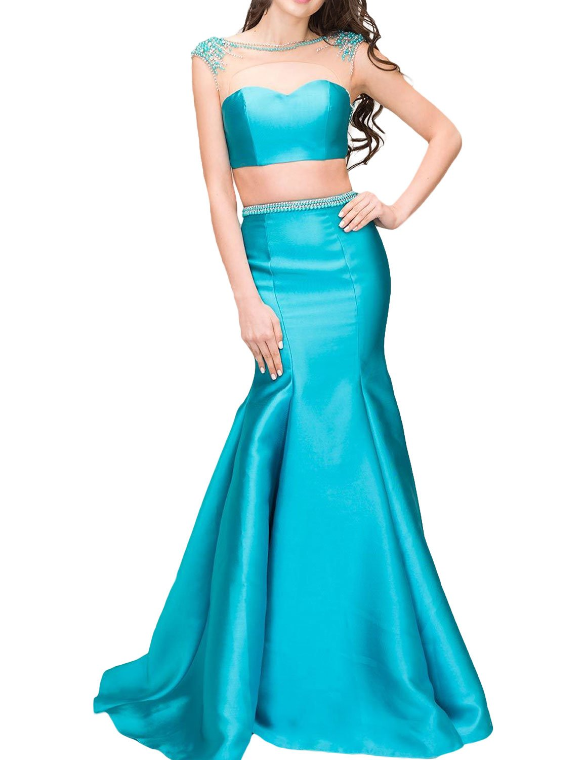 SeasonMall 2016 Two Pieces Satin With Beading Sweep Train Prom Dresses Size 0 Blue