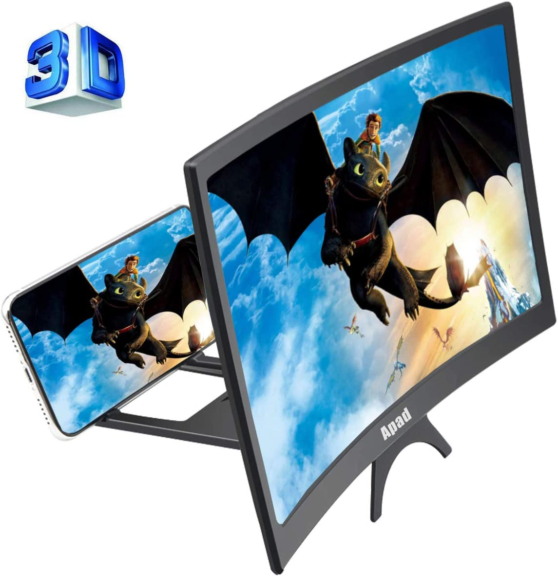 HD Amplifier Projector Magnifing Screen Enlarger for Movies Videos and Gaming with Foldable Stand Compatible with All Smartphones Whatyiu 12inch Curve Screen Magnifier for Cell Phone